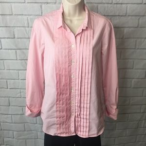 J. Crew women's pink pintuck pleat front blouse M